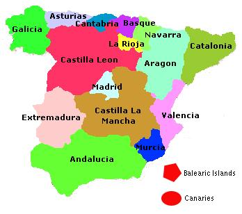 Figure 1 - The 17 autonomous regions of Spain, shown with their Spanish names  (except for Euskadi, the Basque name for the Autonomous Community of the Basque Country).